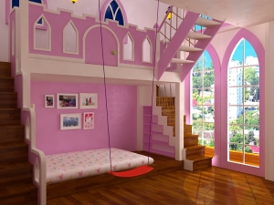 Bản vẽ phối cảnh nhìn từ cửa vào phòng. Hơi nhiều màu hồng